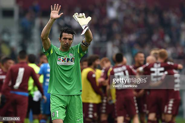 Gianluigi Buffon of Juventus FC salutes the fans at the end of the Serie A match between Torino FC and Juventus FC at Stadio Olimpico di Torino on...