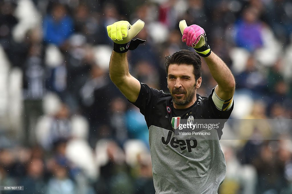 Gianluigi Buffon of Juventus FC salutes the fans during the Serie A match between Juventus FC and Carpi FC at Juventus Arena on May 1, 2016 in Turin, Italy.