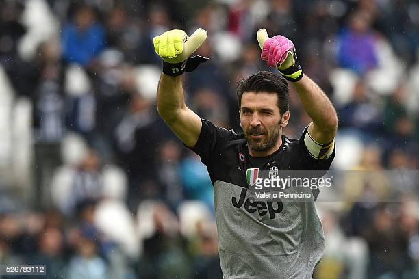 Gianluigi Buffon of Juventus FC salutes the fans during the Serie A match between Juventus FC and Carpi FC at Juventus Arena on May 1 2016 in Turin...