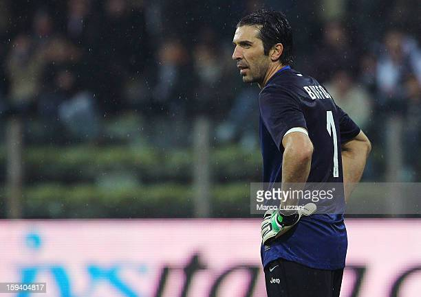 Gianluigi Buffon of Juventus FC shows his dejection during the Serie A match between Parma FC and Juventus FC at Stadio Ennio Tardini on January 13...