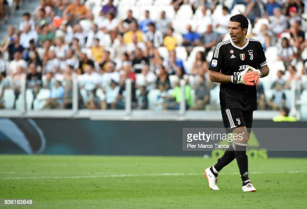 Gianluigi Buffon of Juventus gesture during the Serie A match between Juventus and Cagliari Calcio at Allianz Stadium on August 19 2017 in Turin Italy
