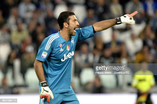 Gianluigi Buffon of Juventus gestures during the Serie A match between Juventus and Torino FC on September 23 2017 in Turin Italy