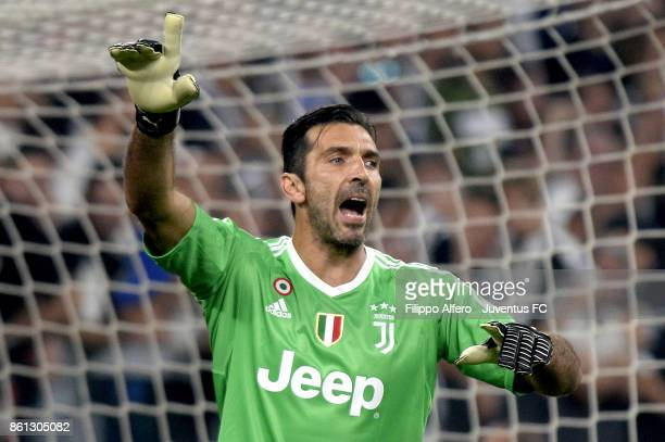 Gianluigi Buffon of Juventus gestures during the Serie A match between Juventus and SS Lazio on October 14 2017 in Turin Italy