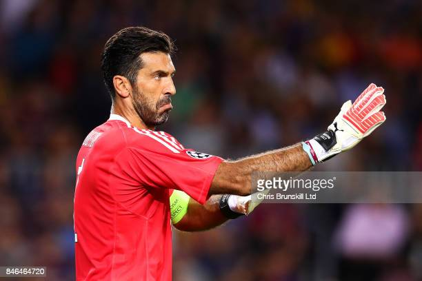 Gianluigi Buffon of Juventus gestures during the UEFA Champions League Group D match between FC Barcelona and Juventus at Camp Nou on September 12...