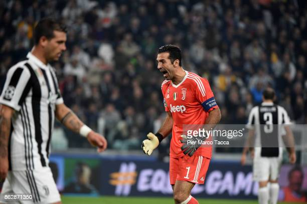 Gianluigi Buffon of Juventus gestures during the UEFA Champions League group D match between Juventus and Sporting CP at Juventus Stadium on October...