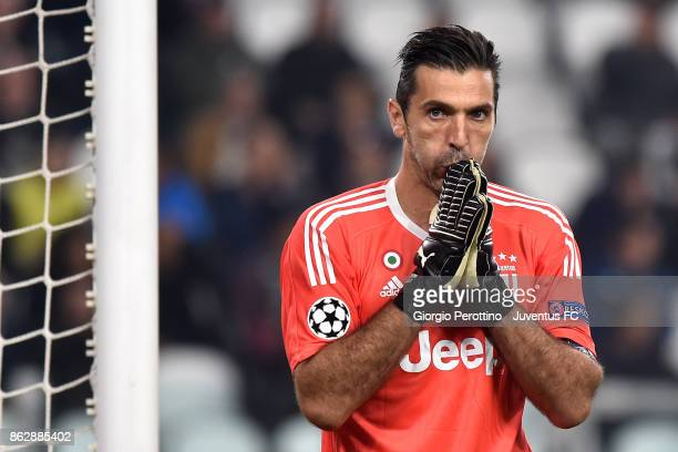 Gianluigi Buffon of Juventus gestures during the UEFA Champions League group D match between Juventus and Sporting CP at Allianz Stadium on October...
