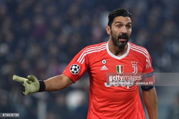 Gianluigi Buffon of Juventus gestures during the UEFA Champions League group D match between Juventus and FC Barcelona at Allianz Stadium on November...