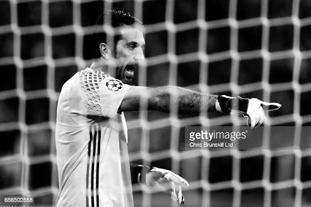 Gianluigi Buffon of Juventus gestures during the UEFA Champions League Round of 16 second leg match between Juventus and FC Porto at Juventus Stadium...