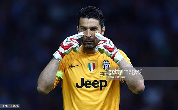 Gianluigi Buffon of Juventus gestures during the UEFA Champions League Final between Juventus and FC Barcelona at Olympiastadion on June 6 2015 in...
