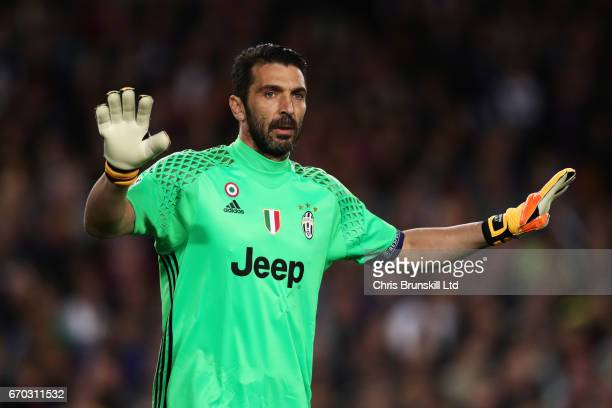 Gianluigi Buffon of Juventus gestures during the UEFA Champions League Quarter Final second leg match between FC Barcelona and Juventus at Camp Nou...