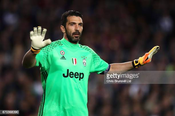 Gianluigi Buffon of Juventus gestures during the UEFA Champions League Quarter Final second leg match between FC Barcelona and Juventus at Camp Nou...