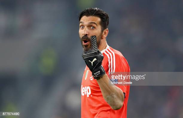 Gianluigi Buffon of Juventus gives instruction to his team during the UEFA Champions League group D match between Juventus and FC Barcelona at...