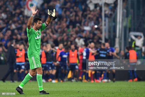 Gianluigi Buffon of Juventus greets fans at the end of the Serie A match between Juventus and SS Lazio on October 14 2017 in Turin Italy