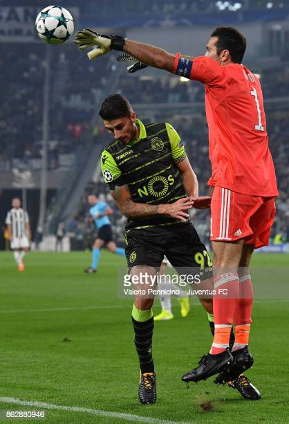 Gianluigi Buffon of Juventus in action against Cristiano Piccini of Sporting during the UEFA Champions League group D match between Juventus and...