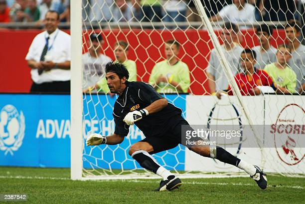 Gianluigi Buffon of Juventus in action during a Champions World Series game between Barcelona and Juventus on July 27 2003 at Gillette Stadium in...