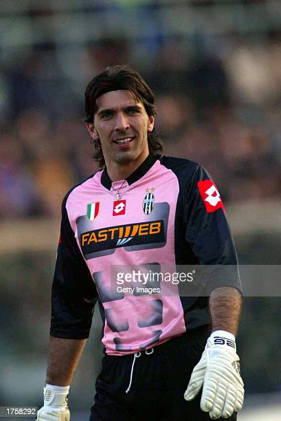Gianluigi Buffon of Juventus in action during the Serie A match between Atalanta and Juventus played at the Azzurri d'Italia Stadium Bergamo Italy on...