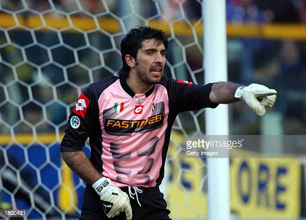 Gianluigi Buffon of Juventus in action during the Serie A match between Parma and Juventus played at the Ennio Tardini Stadium Parma Italy on...