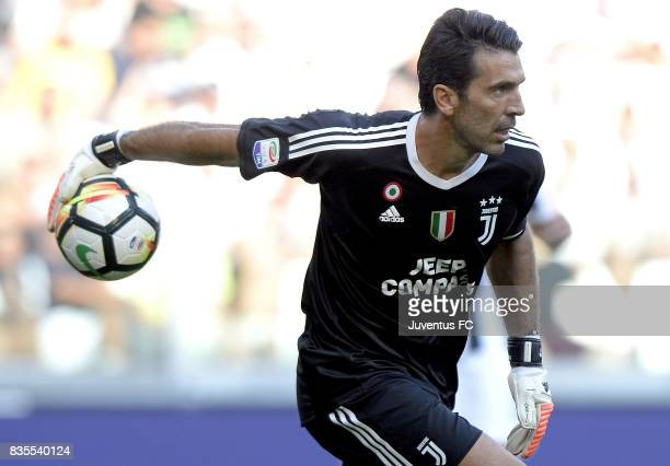 Gianluigi Buffon of Juventus in action during the Serie A match between Juventus and Cagliari Calcio at Allianz Stadium on August 19 2017 in Turin...