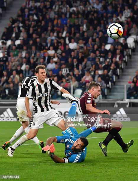 Gianluigi Buffon of Juventus in action during the Serie A match between Juventus and Torino FC on September 23 2017 in Turin Italy