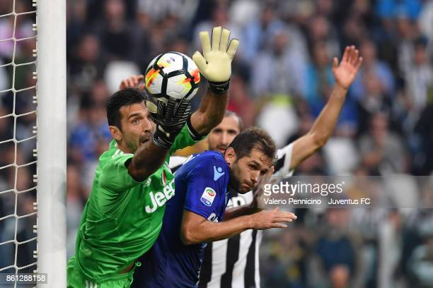 Gianluigi Buffon of Juventus in action during the Serie A match between Juventus and SS Lazio on October 14 2017 in Turin Italy