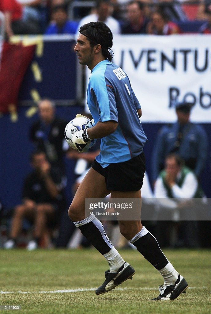 Gianluigi Buffon of Juventus in action during the Supercoppa match between Juventus and AC Milan on August 3 2003 at Giants Stadium in East...