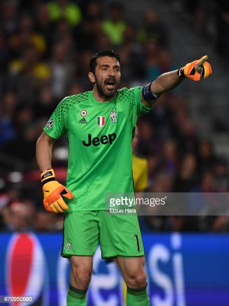 Gianluigi Buffon of Juventus in action during the UEFA Champions League Quarter Final second leg match between FC Barcelona and Juventus at Camp Nou...