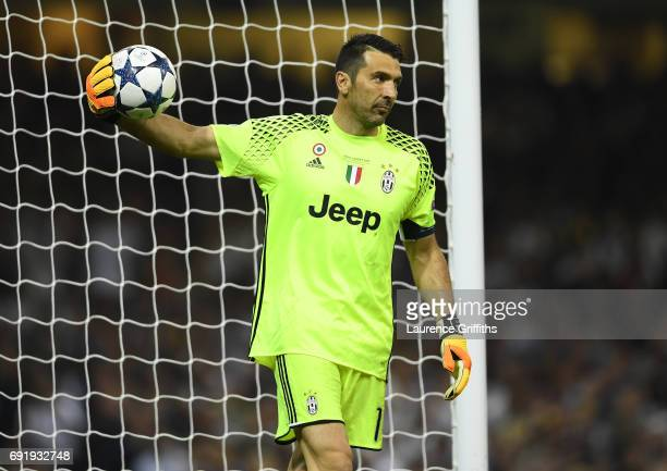 Gianluigi Buffon of Juventus in action during the UEFA Champions League Final between Juventus and Real Madrid at National Stadium of Wales on June 3...