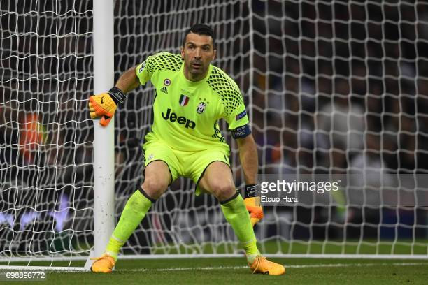 Gianluigi Buffon of Juventus in action during the UEFA Champions League final match between Juventus and Real Madrid at National Stadium of Wales on...