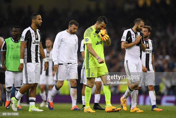 Gianluigi Buffon of Juventus is dejected after the UEFA Champions League Final between Juventus and Real Madrid at National Stadium of Wales on June...