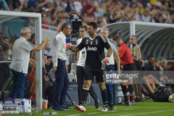 Gianluigi Buffon of Juventus leaves the field during their International Champions Cup football match on July 26 2017 at the Hard Rock Stadium in...