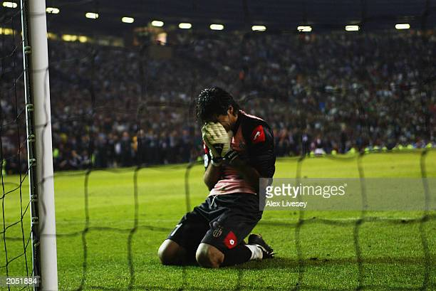 Gianluigi Buffon of Juventus looks dejected after losing the UEFA Champions League Final match between Juventus FC and AC Milan on May 28 2003 at Old...