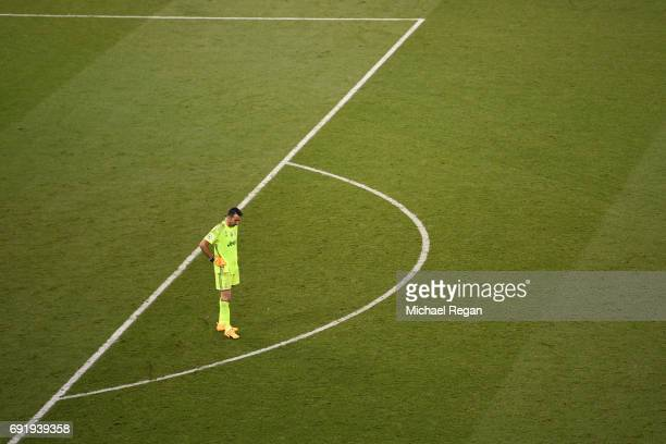 Gianluigi Buffon of Juventus looks dejected after Real Madrid fourth goal during the UEFA Champions League Final between Juventus and Real Madrid at...