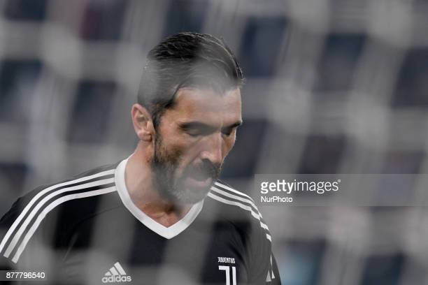 Gianluigi Buffon of Juventus looks dejected during the UEFA Champions League match between Juventus and Barcelona at the Juventus Stadium Turin Italy...