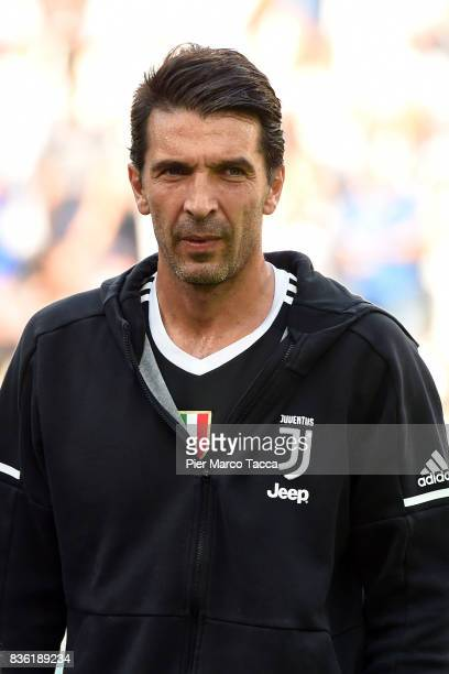 Gianluigi Buffon of Juventus looks during the Serie A match between Juventus and Cagliari Calcio at Allianz Stadium on August 19 2017 in Turin Italy
