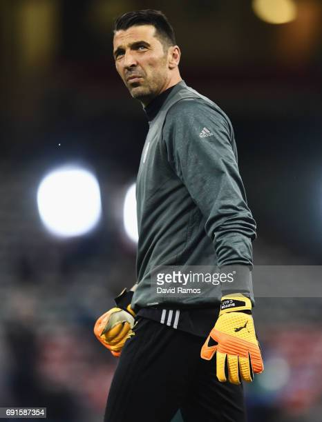 Gianluigi Buffon of Juventus looks on during a Juventus training session prior to the UEFA Champions League Final between Juventus and Real Madrid at...