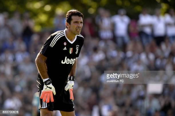 Gianluigi Buffon of Juventus looks on during the preseason friendly match between Juventus A and Juventus B on August 17 2017 in Villar Perosa Italy