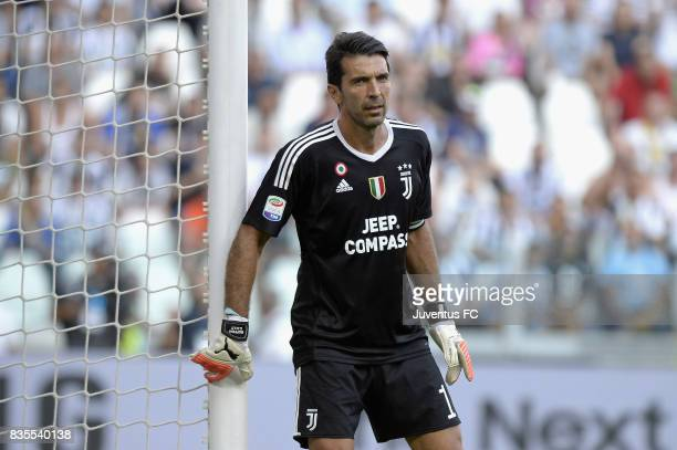 Gianluigi Buffon of Juventus looks on during the Serie A match between Juventus and Cagliari Calcio at Allianz Stadium on August 19 2017 in Turin...