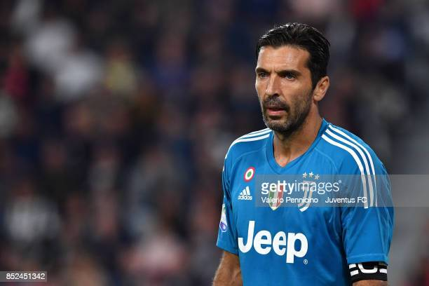 Gianluigi Buffon of Juventus looks on during the Serie A match between Juventus and Torino FC on September 23 2017 in Turin Italy