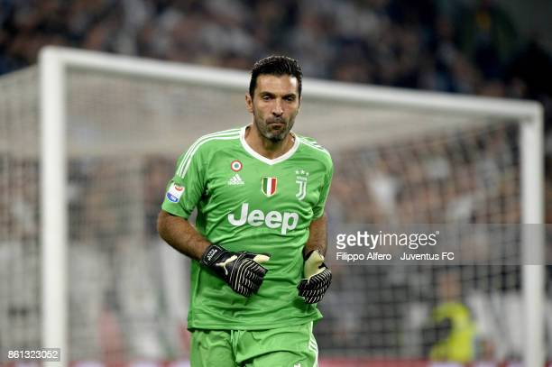 Gianluigi Buffon of Juventus looks on during the Serie A match between Juventus and SS Lazio on October 14 2017 in Turin Italy