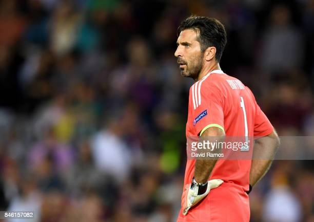 Gianluigi Buffon of Juventus looks on during the UEFA Champions League Group D match between FC Barcelona and Juventus at Camp Nou on September 12...