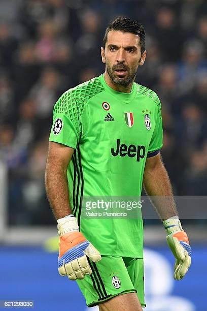 Gianluigi Buffon of Juventus looks on during the UEFA Champions League Group H match between Juventus and Olympique Lyonnais at Juventus Stadium on...