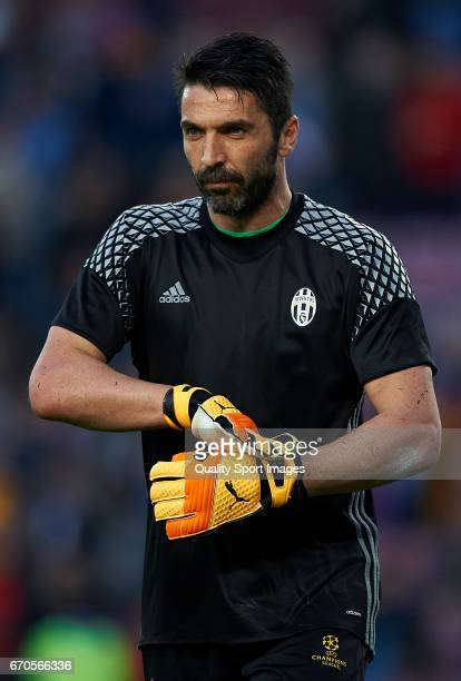 Gianluigi Buffon of Juventus looks on prior the UEFA Champions League Quarter Final second leg match between FC Barcelona and Juventus at Camp Nou on...