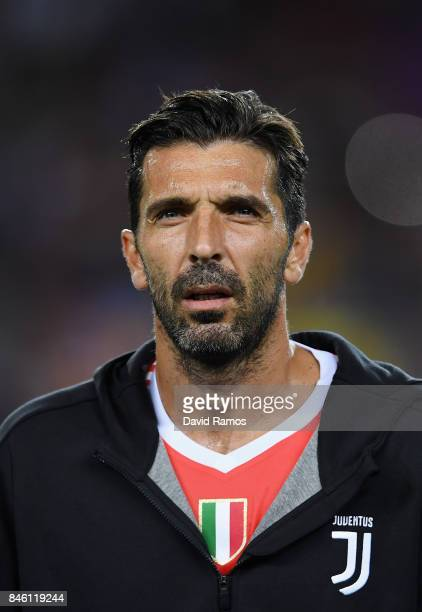 Gianluigi Buffon of Juventus looks on prior to the UEFA Champions League Group D match between FC Barcelona and Juventus at Camp Nou on September 12...