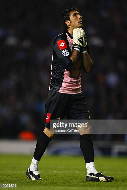 Gianluigi Buffon of Juventus looks to the sky during the UEFA Champions League Final match between Juventus FC and AC Milan on May 28 2003 at Old...