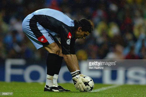 Gianluigi Buffon of Juventus places the ball for a goal kick during the Champion's League Semi Final between Real Madrid and Juventus on May 6 2003...