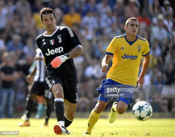 Gianluigi Buffon of Juventus plays tha ball during the preseason friendly match between Juventus A and Juventus B on August 17 2017 in Villar Perosa...
