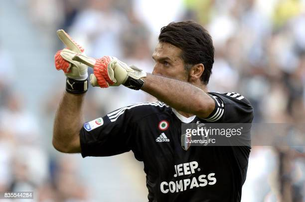 Gianluigi Buffon of Juventus reacts after saving the penalty during the Serie A match between Juventus and Cagliari Calcio at Allianz Stadium on...