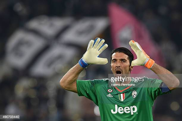Gianluigi Buffon of Juventus reacts during the UEFA Champions League group E match between Juventus and Sevilla FC on September 30 2015 in Turin Italy