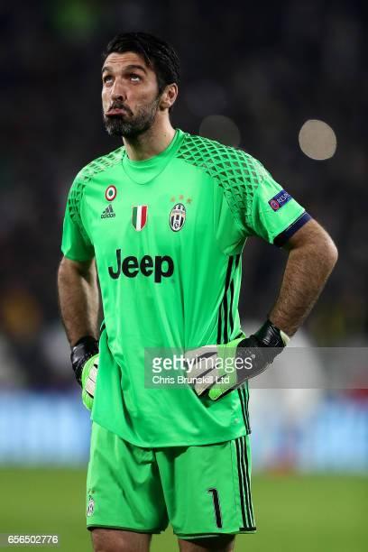 Gianluigi Buffon of Juventus reacts during the UEFA Champions League Round of 16 second leg match between Juventus and FC Porto at Juventus Stadium...