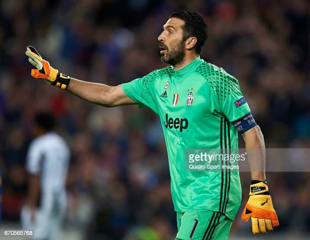Gianluigi Buffon of Juventus reacts during the UEFA Champions League Quarter Final second leg match between FC Barcelona and Juventus at Camp Nou on...